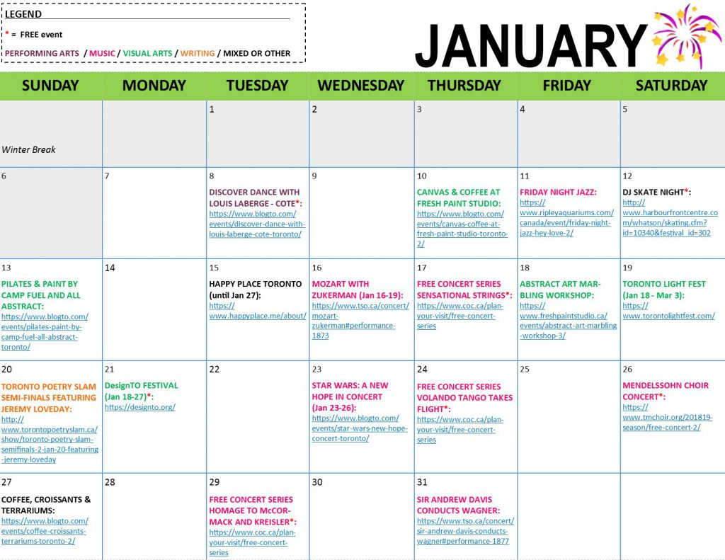 ArtBeat Monthly Calendar - January 2019