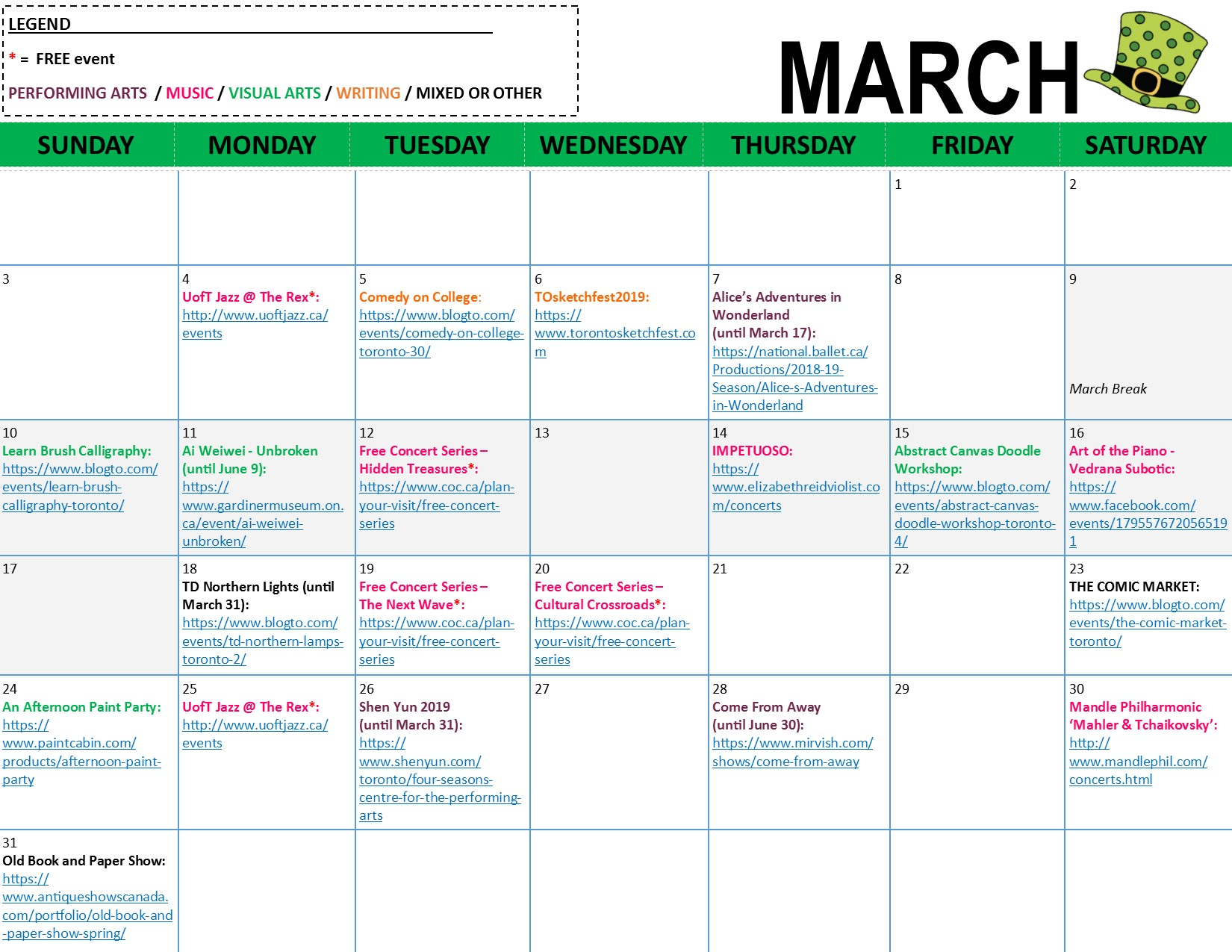 ArtBeat Monthly Calendar - March 2019